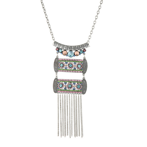 N-7376 Vintage silver color multi-crystal tassel pendant necklace for women gift jewelry