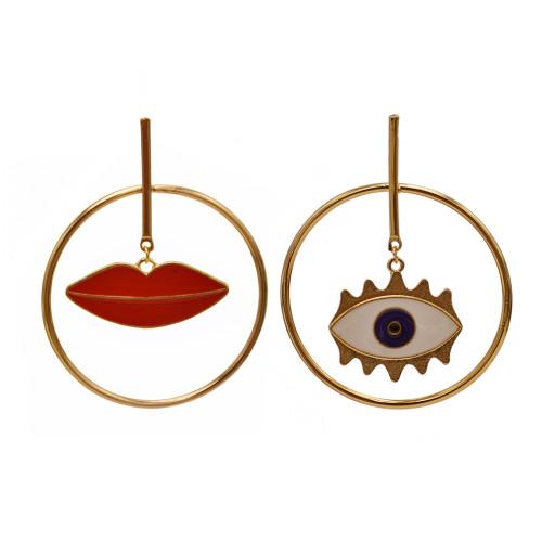 E-5817 Fashion Big Circle Gold Metal Lips Eye-shaped Asymmetry Dangle Statement Earrings for Women