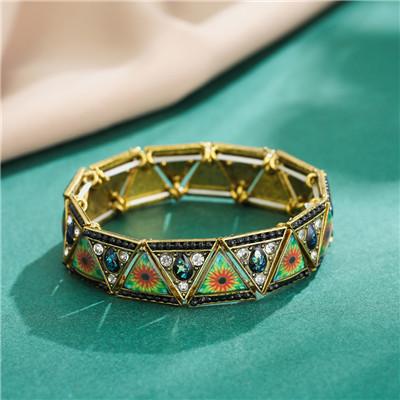 B-1034 Vintage Triangle Rhinestone Elastic Band Bracelet