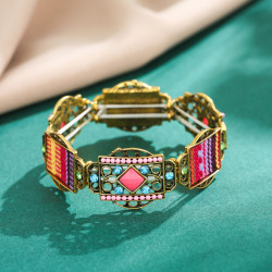 B-1033 Vintage Geometric Colorful Rhinestone Elastic Band Bracelet Jewelry