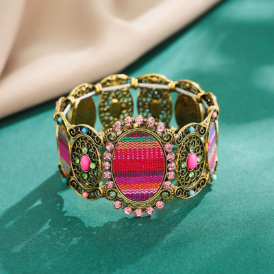 B-1035 Vintage Colorful Rhinestone printed Elastic Band Bracelet Jewelry