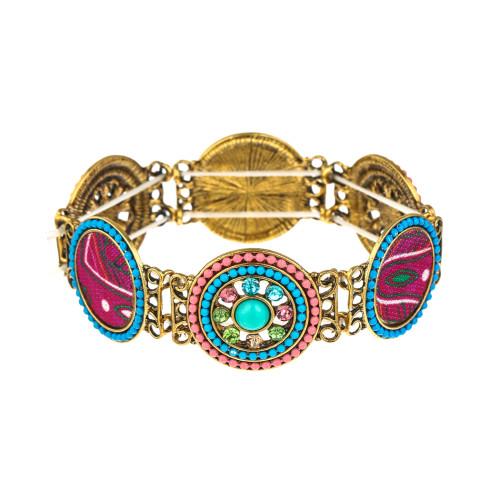 B-1036 Vintage color rhinestone elastic band knitted wristband women gift bracelet jewelry