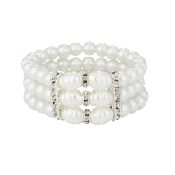 B-1037 Elegant 3 Layers Simulated Pearl Beads Statement Bracelets for Women Girl Summer Party Jewelry Gift
