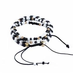 B-1038 Adjustable Braided Rope Acrylic Bead Bracelet Set