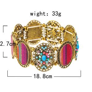 B-1039 Vintage Bead  Colorful Rhinestone printed Elastic Band Bracelet Jewelry
