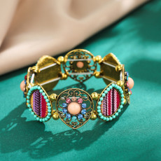 B-1040 Retro Style Silver Gold with Colorful Rhinestone Hollow Flower Shaped  Elastic Bracelet Jewelry