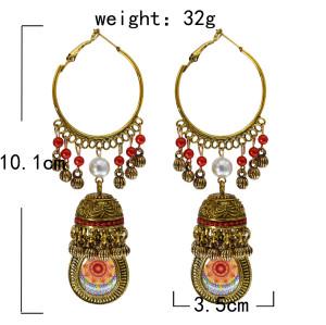 E-5819 Gold Color Bells Indian Jhumka Earrings Women's Vintage Turkey Boho Beads Tassel Earrings Turkish Jewelry