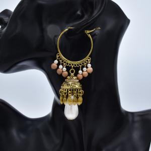 E-5820 Vintage Imitation Pearl Beads Tassel Dangle Earrings Indian Jhumka Hoop Earrings for Women