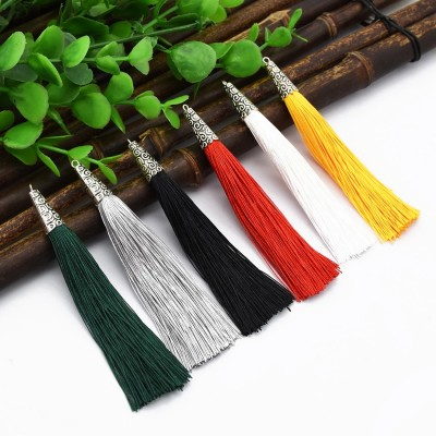 E-4932 10Pcs/Lot 6 Colors Cotton Thread Long Tassel Charm Pendants For Necklace & Earrings Jewelry Making Findings