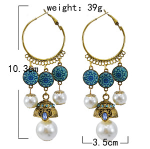 E-5824 Indian Imitation Pearl Beads Tassel Dangle Hoop Earrings for Women