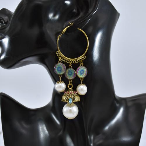 E-5824 Indian Imitation Pearl Beads Tassel Dangle Hoop Earrings for Women