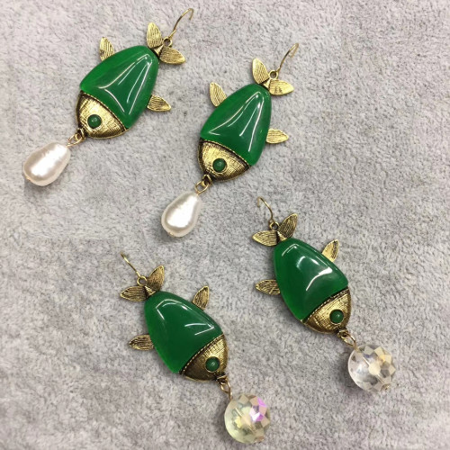 E-5825 Cute Pearl Tassel Green Acrylic Fish Drop Earrings for Women Girl Summer Party Jewelry Gift