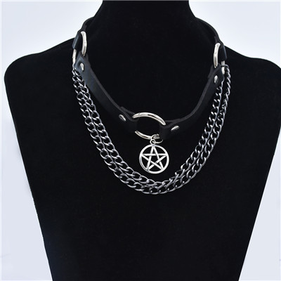 N-7380 Diablo Leather Chain Multilayer Collar Pendant Necklace Sexy Necklace
