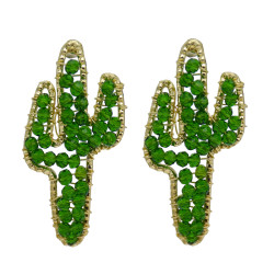 E-5830 Fashion Cute Crystal  Green Acrylic Cactus Shape Drop Earrings for Women Girl Summer Party Jewelry Gift