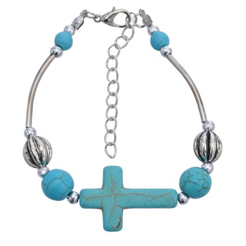 B-1045 Geometry Style Green Beads Adjustable Chain Bracelet for Woman