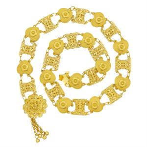 N-7381 Boho gold heart carved flower bell tassel dance waist chain ethnic style woman body chain Jewelry