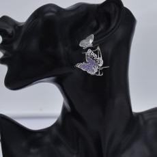 E-5831 Gold/Silver Multilevel Three-dimensional Butterfly Crystal Earrings Women Gift Jewelry