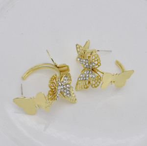 E-5831 Gold/Silver Multilevel Three-dimensional Butterfly Crystal Earrings Women Gift Jewelry