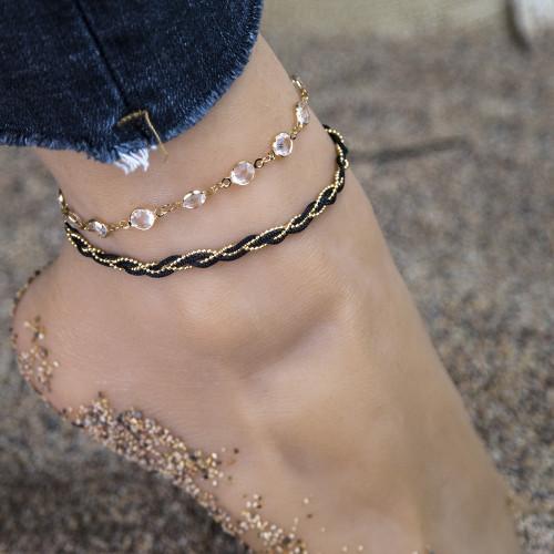 B-1046 Fashion summer beach sexy and charming Rhinestone handmade weave anklets