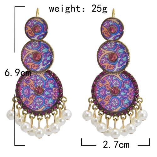 E-5832 Indian Pattern Rhinestone Pearl Tassel Dangle Earrings