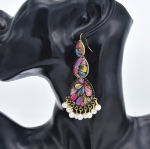 E-5833 Indian Pattern Rhinestone Pearl Tassel Drop Dangle Earrings