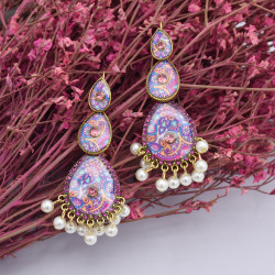 E-5833 Indian Pattern Rhinestone Pearl Tassel Drop Dangle Earrings