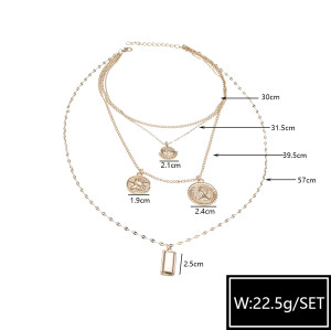 N-7384 Multilayers Gold Chain Figure Coin Pendant Necklaces & Pendant Bohemian Jewelry Gift