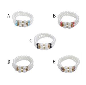 B-1048 Elegant Double Layer White Pearl Color Crystal Lady Diamond Bracelet Bracelet Jewelry Gift