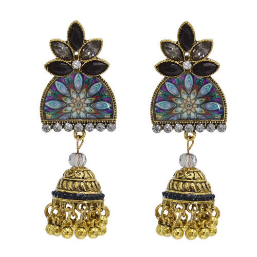 E-5837 6 Color Jhumki Gold with Multicolor Crystal  Beads Bell Tassel Jhumka Earrings for Women