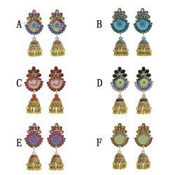 E-5838 Indian Multicolor Crystal  Beads Bell Tassel Jhumka Earrings for Women