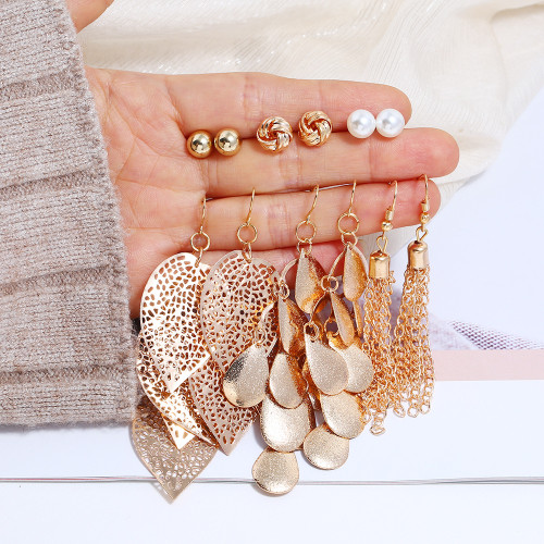 E-5839 6Pairs/Set Bohemian Gold Metal Pearl Round Ball Leaf Drop Earrings for Women Beach Party Jewelry Gift