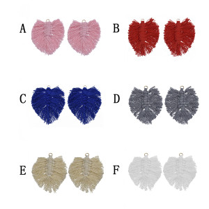 E-5840 1pairs Bohemian multi-color Silk cotton Knot Leaf Leaf Earrings Women's DIY leaves tassel Earrings