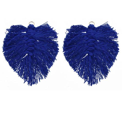 E-5840 1pairs Bohemian multi-color Silk cotton Knot Leaf Leaf Earrings Women's DIY leaves tassel Earrings