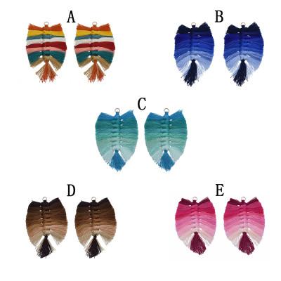 E-5640   1 pairs Bohemian Six Color Silk cotton Knot Leaf Earrings Women's DIY Tassel Earrings