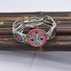 B-1049 Fashion Retro Style Colorful Rhinestone Butterfly pattern Flower Shaped  Elastic Bracelet Jewelry