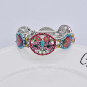 B-1049 Fashion Retro Style Colorful Rhinestone Butterfly pattern Flower Shaped  Elastic Bracelet Jewelry