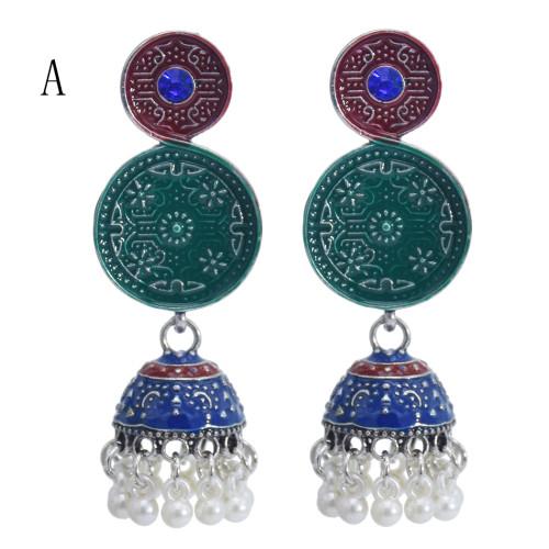 E-5844 6 Color Jhumki Silver with Multicolor Enamel  Beads Bell Tassel Jhumka Earrings for Women
