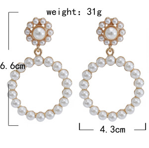 E-5843 Fashion Geometric Exaggerated Circle Diamond Pearl Flowers Earrings