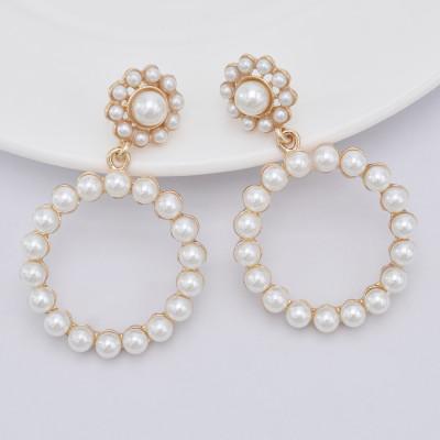 E-5843 Fashion Geometric Exaggerated Circle Diamond Pearl Flowers Earrings