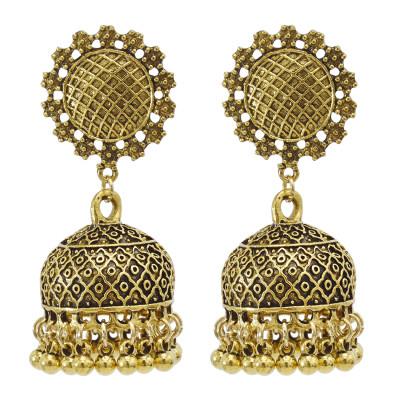 E-5845 Vintage ethnic style Gold Silver alloy long tassel bell bead Jhumka Earrings for Women