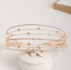 F-0764 Fashion silver crystal alloy star Multi-layer hair band hair accessories bridal jewelry