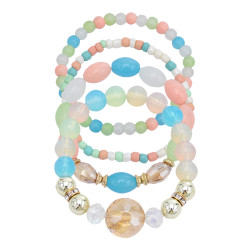 B-1051 4Pcs/Set Boho Style Beaded Adjustable Bracelets For Women Charming Jewelry Accessory