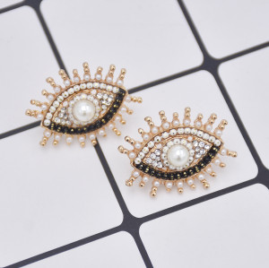 E-5851 Vintage gold long eyelashes crystal color stone eyes earrings party jewelry earrings