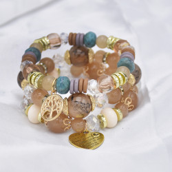 B-1055 3Pcs/Set Boho Beaded heart-shape pendant Bracelets Charming Jewelry Accessory