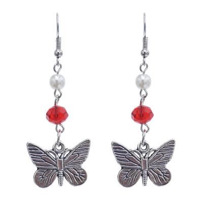 E-5852 Vintage Silver Metal Acrylic Beads Butterfly Drop Earrings for Women Wedding Party Jewelry Gift