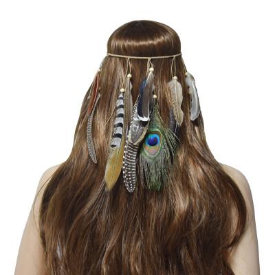 F-0778 Fashion Bohemian Hippie Headband Dreamcatcher Feather Headdress Fashion Peacock Feather Headbands Hair Accessories