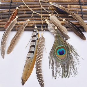 F-0778 Fashion Bohemian Hippie Headband Dreamcatcher Feather Headdress Fashion Peacock Feather Headbands Hair Accessories