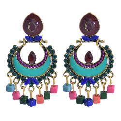 E-5853  Indian Jhumka Earrings for Women Vintage colorful bead Bells Tassel Earring Ethnic Party Afghan Jewelry