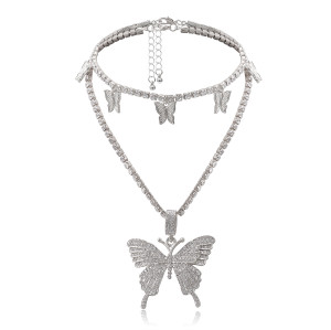 N-7392 Fashion 2pcs/set BlingBling Rhinestone Multi-Layer Butterfly Pendant Choker Necklace