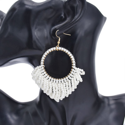E-5862 Fashion elegant white pearl tassel earrings urban party women gift jewelry